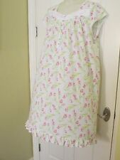 New EILEEN WEST White/Pink/Green Floral Gown~Cotton & Modal~Size 2X~Retail $66