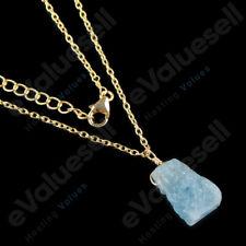 "Natural Raw Aquamarine Pendant Necklace 925 Sterling Silver Healing Gemstone 18"""