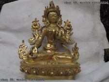 Tibet Buddhsim Pure Copper Bronze 24K Gild White TaRa Goddess Guan Yin Buddha