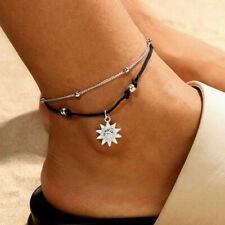 Nuovo Sole Caviglia Bracciale Perline Doppia Catena Piede Gioielli Spiaggia Boho