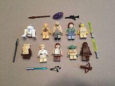 LEGO lot of 10 Star Wars Good Guy Minifigs Yoda Luke Leia Han R2-D2 Chewie F377