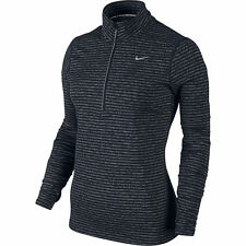 Nike Element Stripe Half-Zip Women's Running Top M Black Gray Long Sleeve Shirt