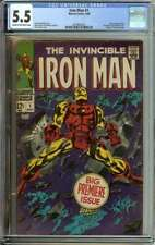 IRON MAN #1 CGC 5.5 CR/OW PAGES