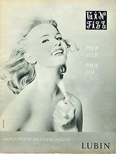 PUBLICITE ADVERTISING 115  1960  GIN FIZZ  eau de toilette de LUBIN