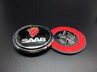 68mm SAAB 93 95 68mm BLACK BONNET Badge Emblem 3 PIN Front 2003-2010 9-3 9-5