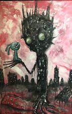GUS FINK art ORIGINAL outsider lowbrow surreal abstract graffiti BURNT BEING