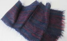 Vintage ROOTS of SCOTLAND Wool & Mohair SCARF Jewel Tones Navy Teal Cranberry