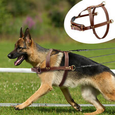 Genuine Leather Dog Weight Pulling Harness Heavy Duty Adjustable German Shepherd