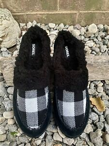 Sorel Out N About Slide Slip On Slippers Black Plaid Leather Shoe Women SZ 12/43