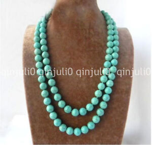 36'' 10mm Round Ball Green Blue Turquoise Gemstone Beads Long Necklace jewelry