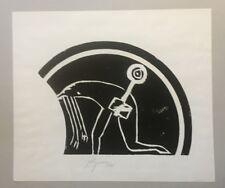 Felix Droese, f-Schlüssel im Holz, Holzdruck, 1995, handsigniert und datiert
