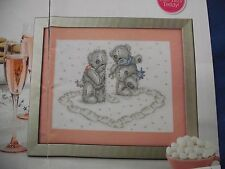 SNOWY AND SWEET TATTY TEDDY MAKING A HEART IN CHRISTMAS SNOW  CROSS STITCH CHART