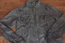 F.U.S.A.I Focus USA  Button-down Long Sleeve Shirt Men's S XL Check  Gray