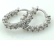 VINTAGE .925 Sterling Silver & Cubic Zirconia, Petite Hoop Earrings, Lever Backs