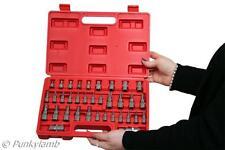 "35pc 1/4"" 3/8"" & 1/2"" Dr Male & Female Star Torx E-Socket Set Tamper Proof Tool"