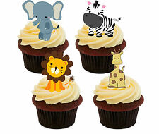 Jungle Animals Kids Edible Cupcake Toppers - Stand-up Fairy Cake Bun Decorations