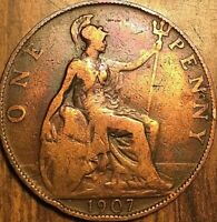 1907 UK GB GREAT BRITAIN ONE PENNY