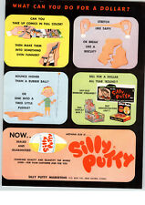 1958 PAPER AD Silly Puddy Store Display Window Sticker Sign Counter Box