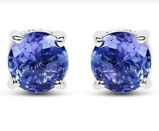 TANZANITE & SILVER EARRINGS WHITE GOLD LOOK 1.65CWT  HALLMARKED GENUINE AAA