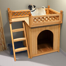 Hundehütte Hundehaus Tierhaus Hundehöhle Katzenhaus Hund Holz Box Sonnenterrasse