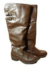 APT.9 Kohl's Langton Riding Boots women 7 Brown Cognac Knee high western cowgirl