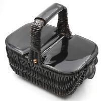 Darling Vintage Mid Century Little Black Wicker Woven Basket Style Purse 1950s