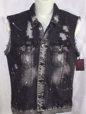 MENS BROOKLYN CLOTH VINTAGE DISTRESSED BLACK DENIM JEAN VEST SIZE L