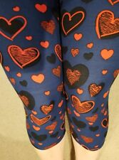 One Size OS Buttery Soft Blue Navy Hearts Capri Leggings Sizes 0-12