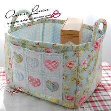 Blue Stitch Heart with Cath kidston Fabri Storage/Laundry/Nursery Basket/Bag B36