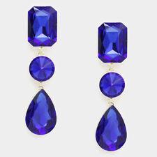 Triple blue crystal dangle  bridal/prom    evening earring fashion jewlery x e3