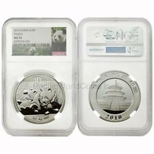 China 2010 Panda 10 Yuan 1 oz Silver NGC MS70