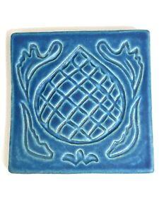 Pewabic Detroit Pottery Tile Blue Artichoke 2004