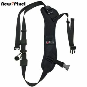 Black Sling Strap Quick Rapid Carry Speed Padded Shoulder Belt For DSLR Camera