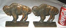 Antique Western American Cast Iron Indian Buffalo Art Statue Sculpture Bookends