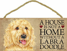 A house is not a home without a Labradoodle Wood Puppy Dog Sign Plaque USA Made