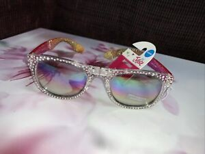 JUSTICE FOLDABLE SUNGLASSES SILVER/PINK/GOLD RHINESTONE SHIMMER SUMMER ACCESSORY