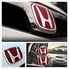 Red H Emblem 2PCS Set Front & Rear For 06-15 CIVIC SEDAN DX EX LX SI Car Nice
