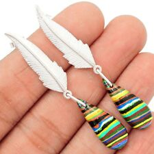 Eagle Feather Rainbow Calsilica 925 Sterling Silver Earrings Jewelry SE98481