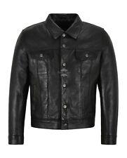 Mens Trucker Leather Jacket Black Real Lambskin Classic 80s Western Jackets 1280
