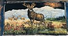 Deer Buck Stag Tapestry Velour Wall Hanging 19x37 Made In Italy *Stain On Back