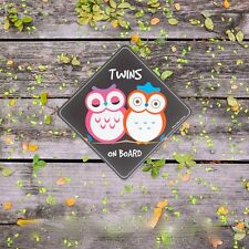 TWINS on Board / Owls (Baby on Board) Boy/Girl twin Safety Car Sticker/Baby Gift