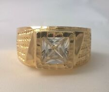G-Filled Men's 18k yellow gold simulated diamond ring square USA size 13 Aus Z+1