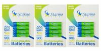 12 x Starmo AAA MN2400 900mAh HR03/1.2V Rechargeable Batteries NiMH Ready To Use