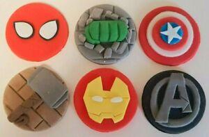 Edible Marvel Avengers style Superhero handmade cupcake toppers set of 6 - set 2