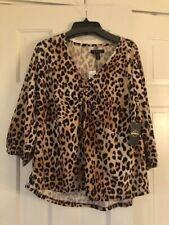 Goddess Women's Leopard Print Shirt Blouse Top Long Sleeve NWT Size 2X