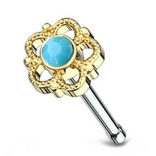 "Nose Bone Ring Flower Daisy w/Turquoise 5mm Head 20 Gauge 1/4"" Gold IP Body Jewe"