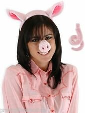 PIG COSTUME KIT SET Ears Tail Nose Headband Adult Child Kids Pink Farm Animal