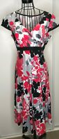 Pretty PER UNA MARKS AND SPENCER Black Red Grey Floral Linen A Line Dress UK 14