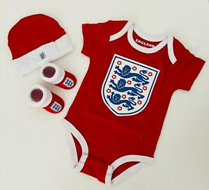 England Baby Vest Hat & Bootie Set England FA Football Baby Suit 3-6 Months Red