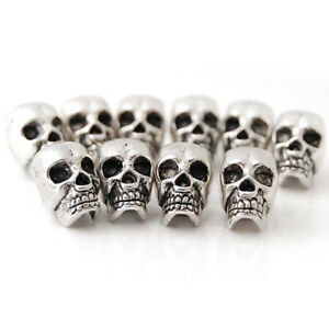 10PCS Antique Silver Skull Charm Loose Spacer Beads Jewelry DIY Finding